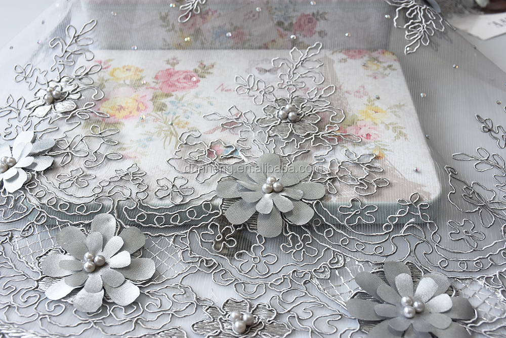 NEW NEW NEW -Embroidered fabric with stones and hand made flower
