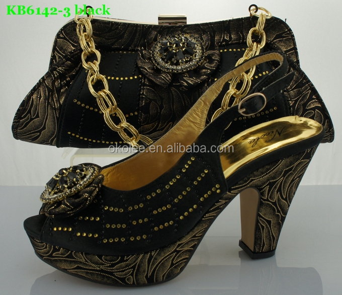 genuine leather italian matching shoes and bags 2015 balck color