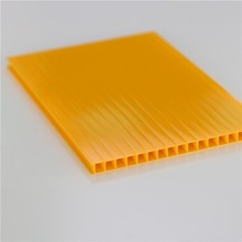 Polycarbonate manufacturer produce fire resistant twin-wall hollow plastic sheet 5.5mm blue