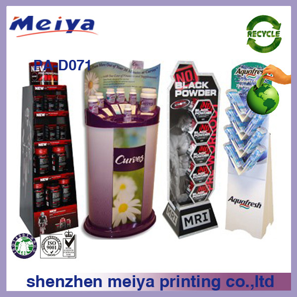 Paper type/material layered coffee/personal care/toothbrush cardboard floor/pallet display stand/shelf