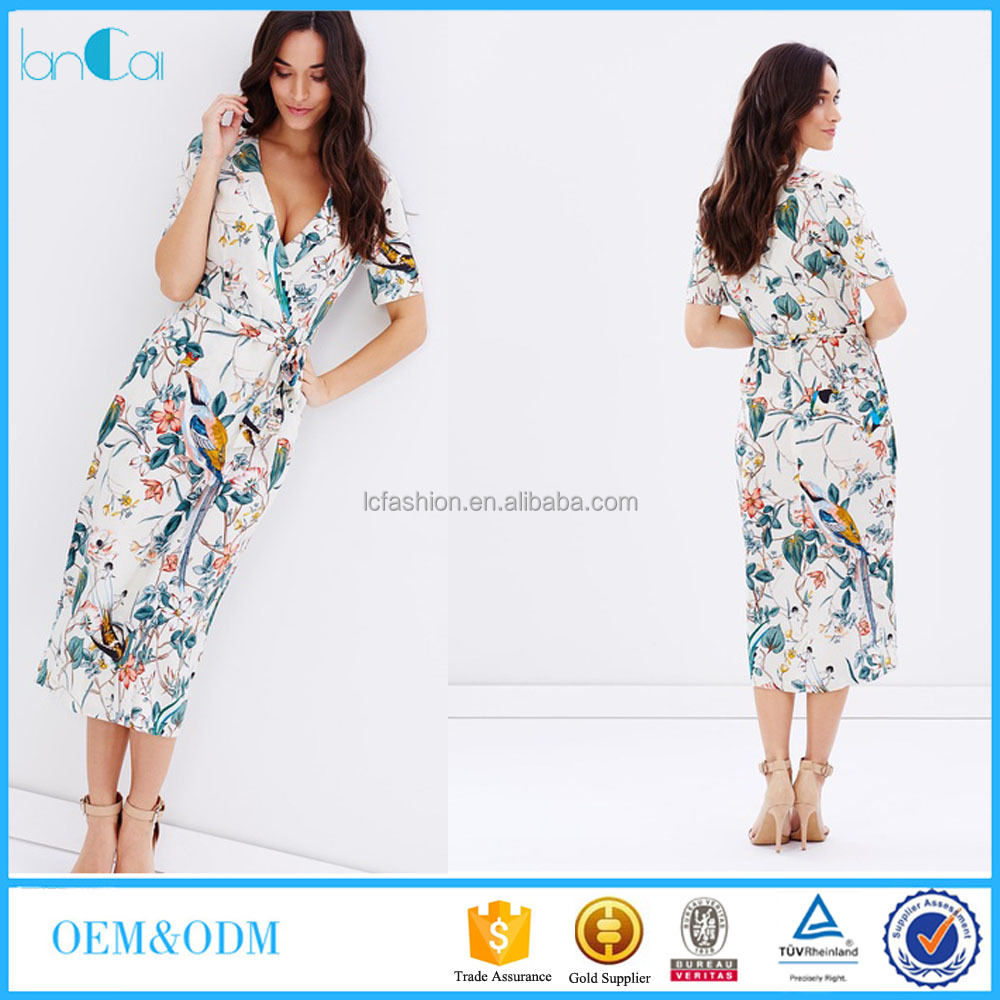 2016 floral print soft and lightweight fabric design women dress