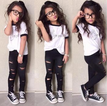 S17434A 2017 New Model Design Korean Style Teen Girl's Clothing Set