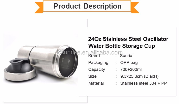24Oz Stainless Steel Shaker Water Bottle With Twist Storage Compartment Cup