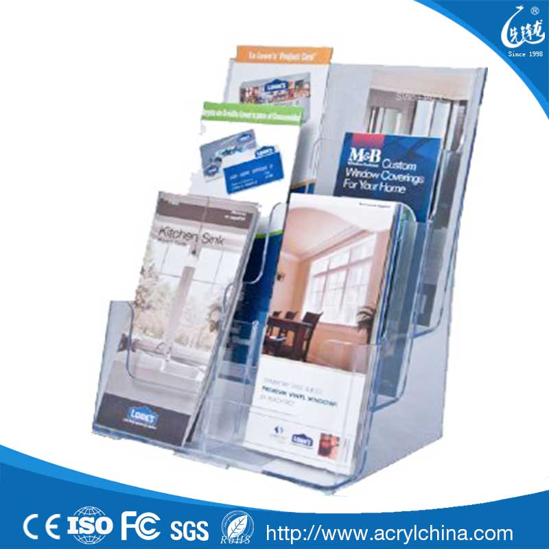 Acrylic 3 Tier 6 Pocket Brochure Holder stand - Table Top or Wall Mount Leaflet Rack