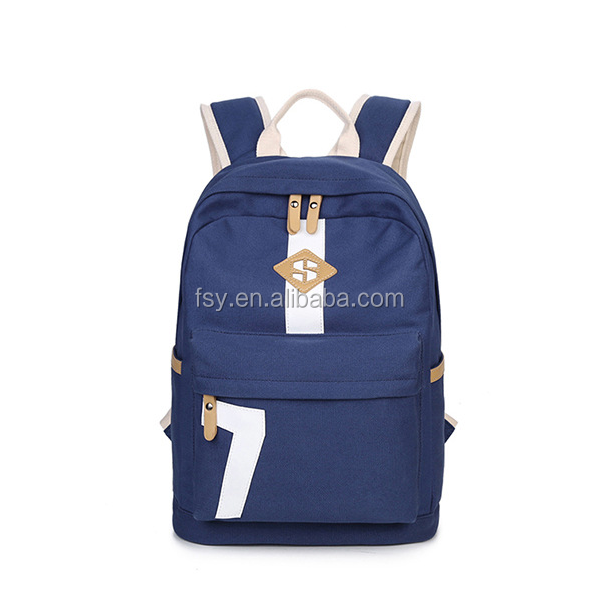 High quality canvas mochila college school bag backpack school girls