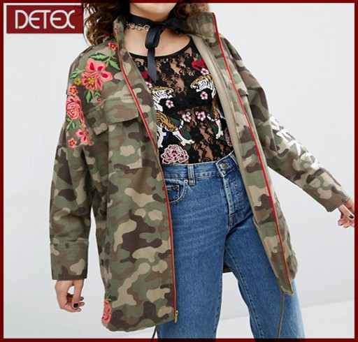 Floral Embroidered Army Women Parka Camo Jacket