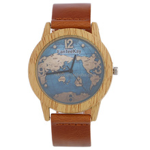 Fashion Leather World Map Wood Watch Wholesale DYWH-0079
