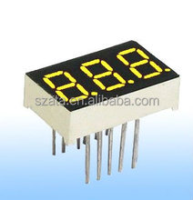 triple digit yellow color 7 segments led display for numeric display