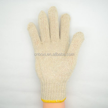 High quality natrual white polyester/cotton yarn working glove,poly cotton knitted gloves work gloves