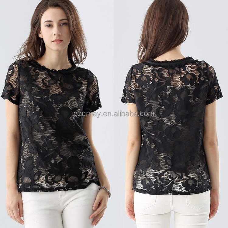 Latest Trendy Fancy Stylish Sexy Short Sleeve Lace Tube See Through Girls Net Tops