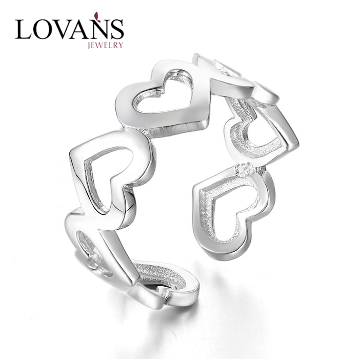 Solid 925 Silver Jewelry Rings Heart Shape Ring
