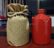 Factory Custom Logo Drawstring beverage bottle Packaging Pouches Jute Winebottle Bags