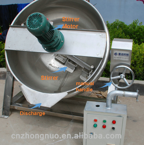 Tilting gas heating jacketed kettle