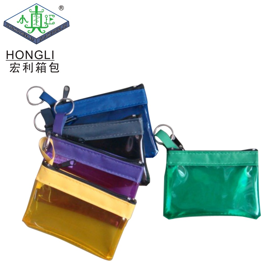 Wholesale Promotion Gift Zipper Plastic PVC Small Coin Purse With Key Ring
