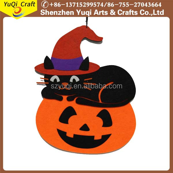 2017 wholesale halloween felt pumpkin hanging decoration