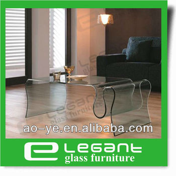 Europe Modern Style Hot Sale Wavy Clear Bent Glass Coffee Table