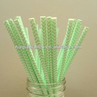 Light Green chevron stripe drinking straws zig zag vintage party straws