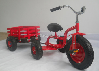 rubber wheels children metal tricycle with trailer