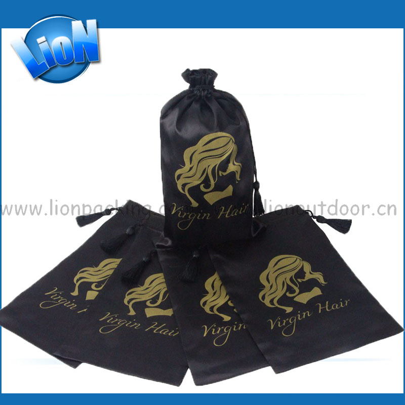 Customized 18x30cm Black Extension Hair Drawstring Bags Satin Pouch