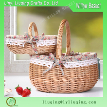 Factory wholesale oval natural willow wicker basket picnic basket hamper stoarge basket with handle