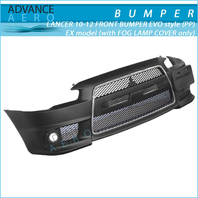 FOR 2010-2012 MITSUBISHI LANCER EVO STYLE PP POLYPROPYLENE FRONT BUMPER EX MODEL W/ FOG LAMP COVER ONLY