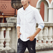 Latest Male Pent Shirt Design Thai Casual Long-Sleeved Slim Fit 100% Cotton Man White Shirt