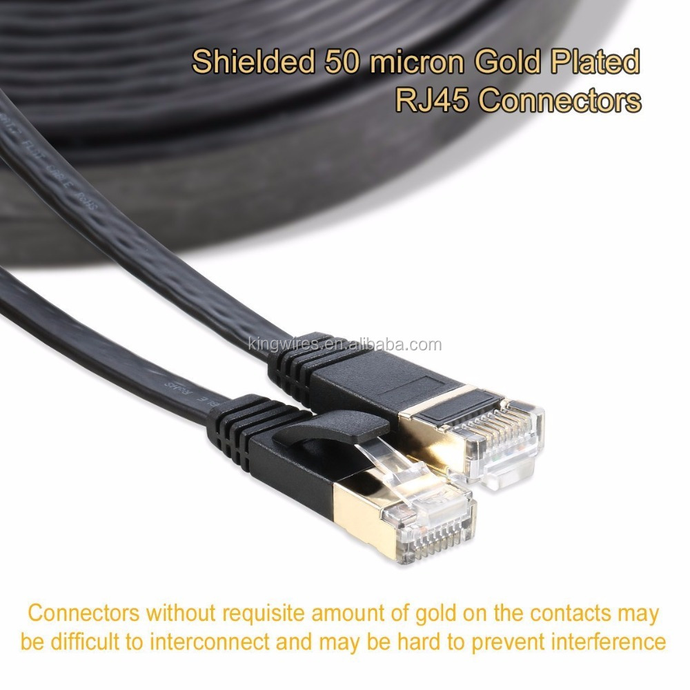 White Blue Red Network Cable Snagless Ethernet Patch Flat Cat6 Shielded Cable