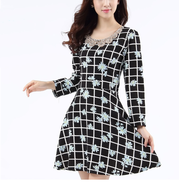 Hight Quality Vintage O-Neck Long Sleeve Check Print Sequin Party Dress