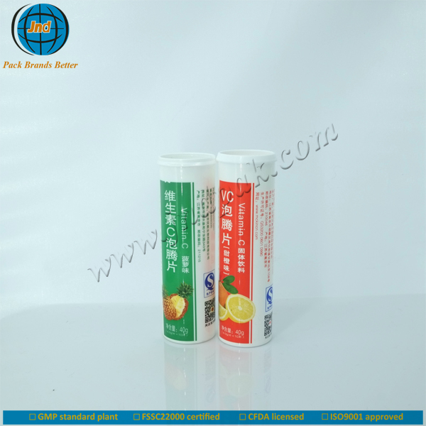 Plastic cylinder cosmetic bottles for mask tablets with cap by GMP plant-food grade materials
