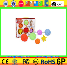 Baby bath toy safe grab massage ball with whistle