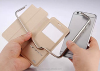 Original KXX Fancy Cellphone Aluminum Bumper +Genuine Leather Case For Iphone 6 /for iphone 6 plus