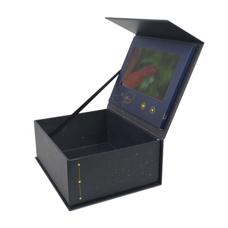 Handmade custom promotional gift magnetic video screen Box With Lcd