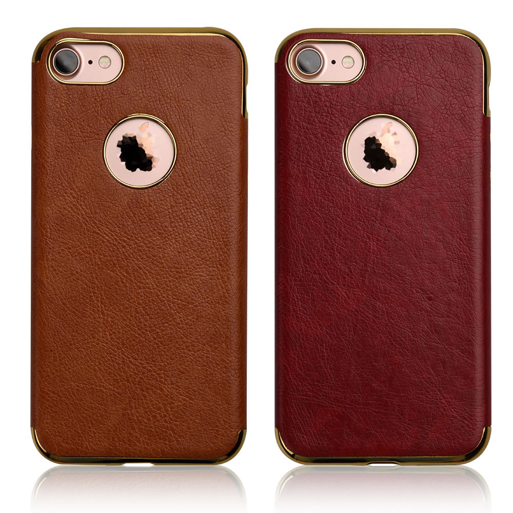 C&T Ultra-thin Electroplating Frame Leather Soft Protective Back Case Cover for iPhone 7