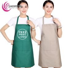 100% Cotton free printing logo kitchen cooking linen apron /good quality Advertisement gift cooking apron facrory price