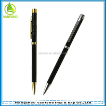 Hotel cheap promotional custom logo metal slim ballpoint pen with twist action