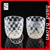 Creative handmade 330ml white squares whiskey glass with White Stripe ZDL0017
