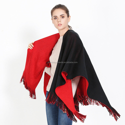 Wholesale red and black fashion women winter cashmere poncho with tassel shawls
