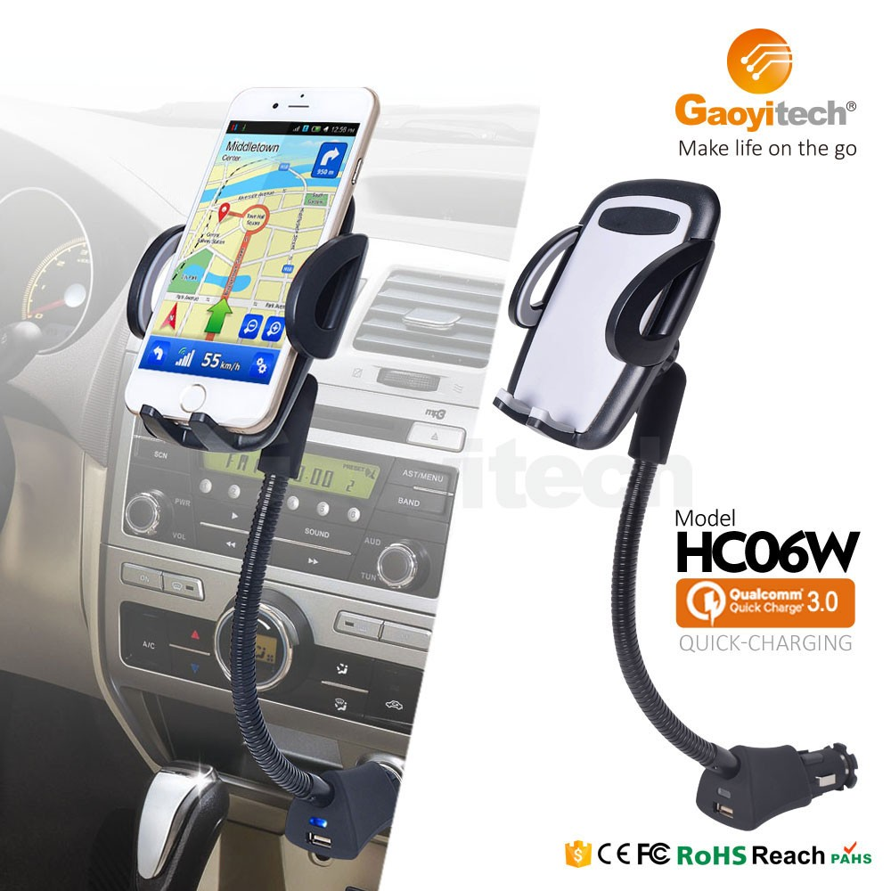 <strong>Q</strong>.C3.0 USB Stands Car phone Charger Holder for magnetic with goosneck