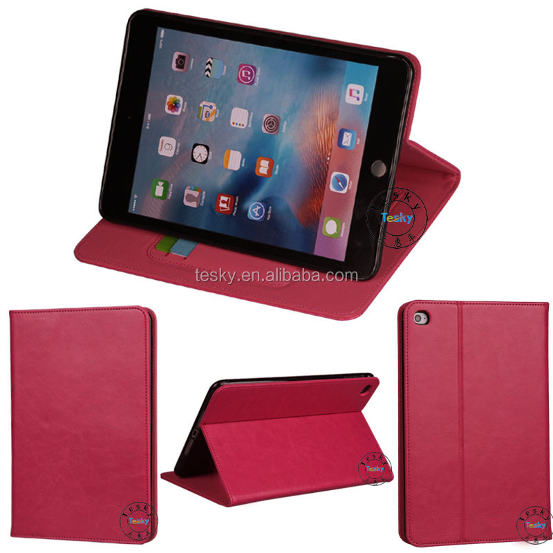 for ipad mini4 case, luxury cheap stand folio cover flip case for ipad mini4 magnetic wallet