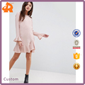 custom make long sleeve polyester women night dress,plain pink latest dress designs