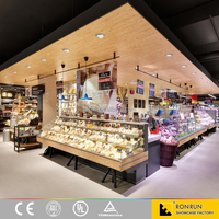 Food Shop Kiosk Decoration Design, Food Counter Display Design With Showcase