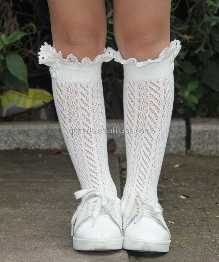 Girls Boys Toddlers Cable Knit Lace Baby Knee High Socks