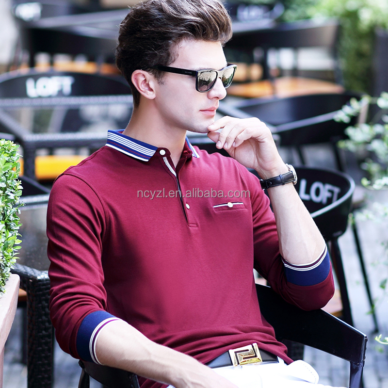 Custom wholesale men polo t shirt 100% cotton casual office fall polo shirt for men long sleeve