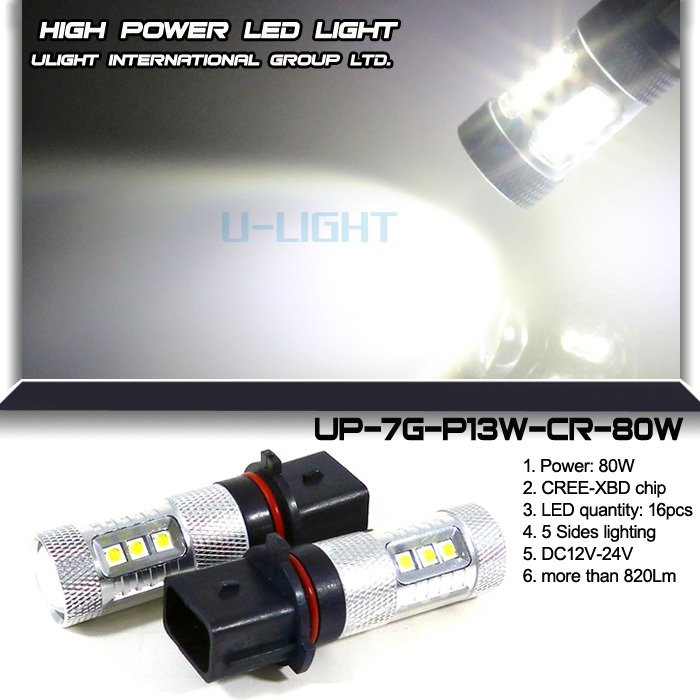 U-LIGHT High Power 12V 24V Width Voltage 80W P13W LED Fog Lamp with XBD chips more than 820 lumen 360 degree perfect emitting
