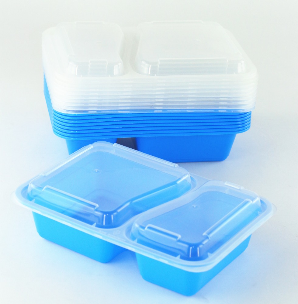2 Compartment BPA Free Reusable Meal Prep Containers Plastic Food Storage Trays with Airtight Lids Microwavable safe