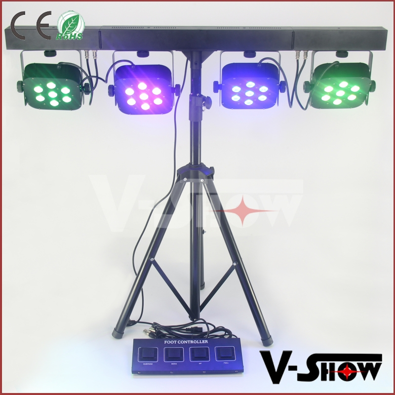 STAGE LIGHTS 7X10W RGBW/A FOOT CONTROLLER 4 FLAT LED BAR LIGHTS SOUND ACTIVATED PARTY LIGHTS