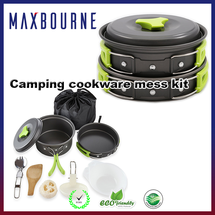 hotselling lightweight portable 10 pcs outdoor camping cooking pan set with Pots Pans Bowls Utensils Stoves and Windshield
