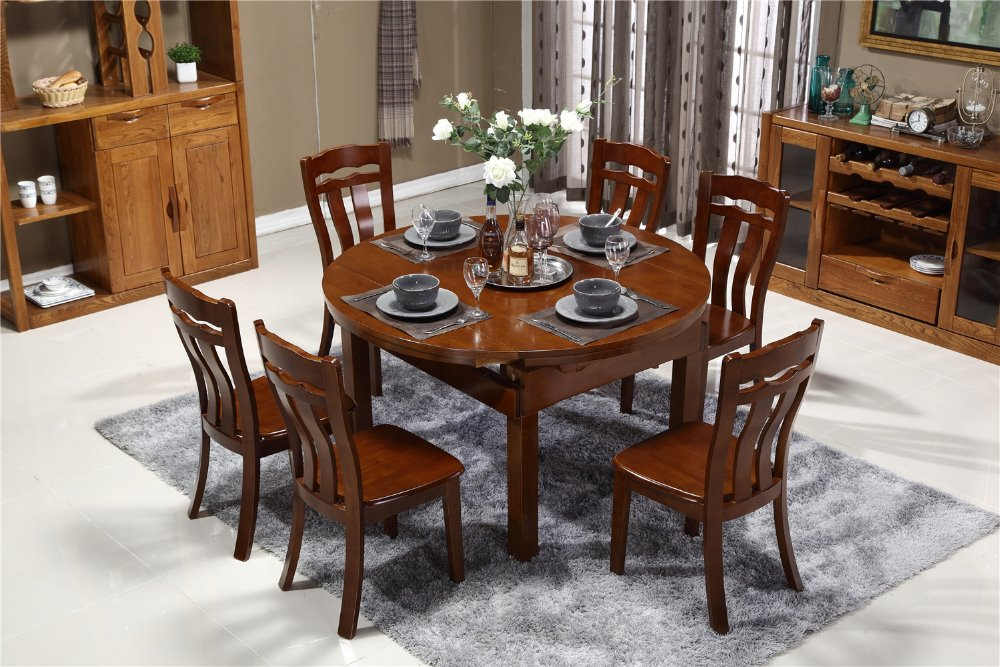 The wholesale customized big round popular antique teak dining table