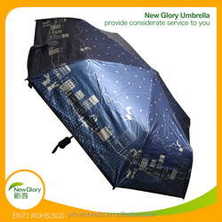 21inch sunproof umbrella 190T polyester 3 fold umbrella manual open fiberglass ribs