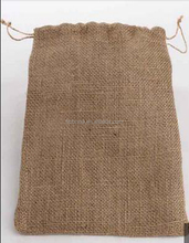 Custom drawstring Jute burlap hessian hemp gunny sack bag
